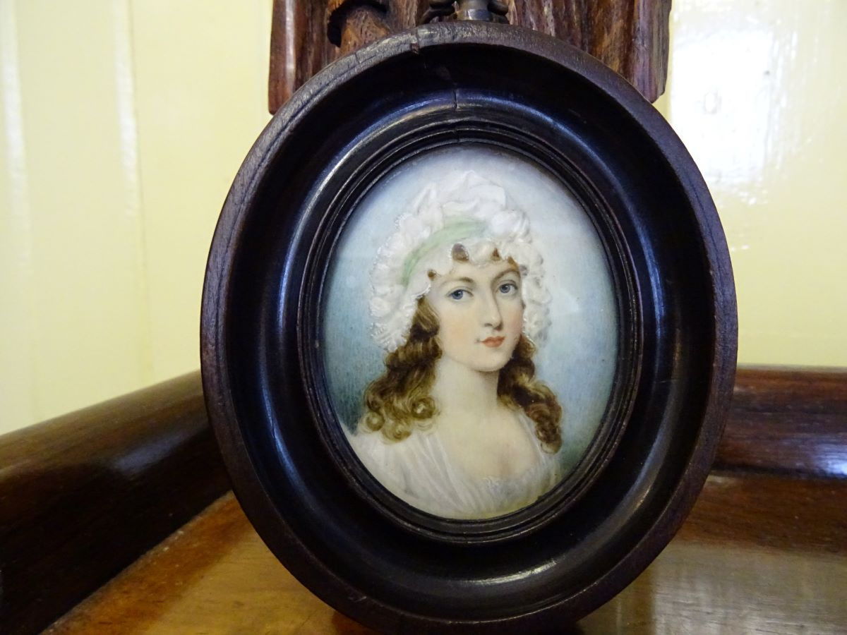 19th century miniature watercolour of a lady