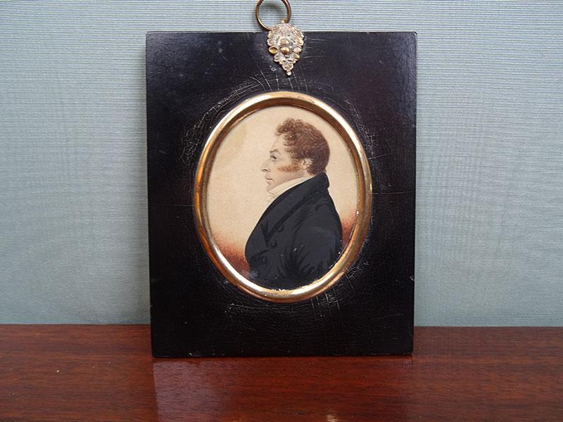 19th century miniature watercolour portrait of a gentleman