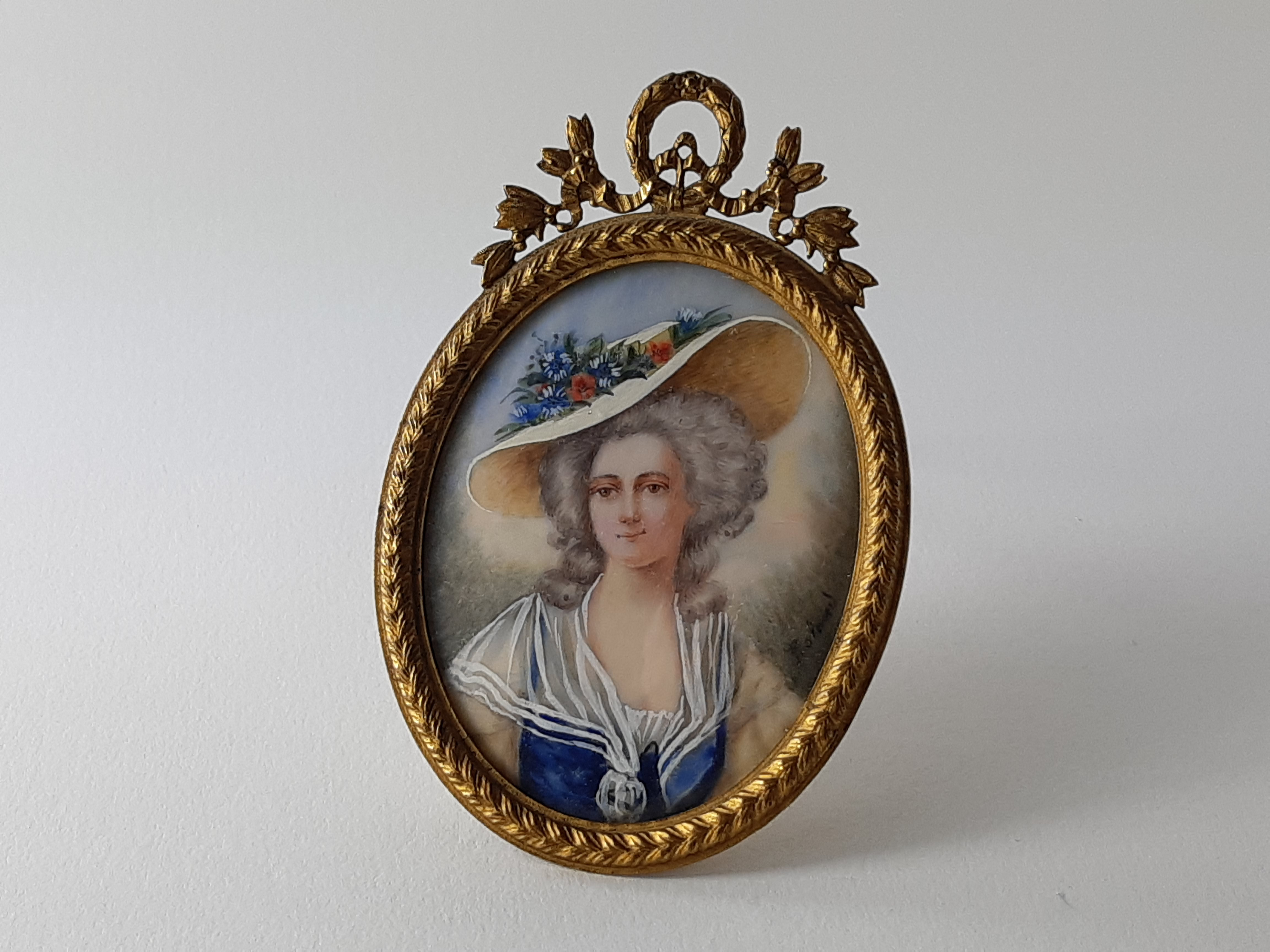 Miniature portrait of Gainsborough lady - watercolour on ivory