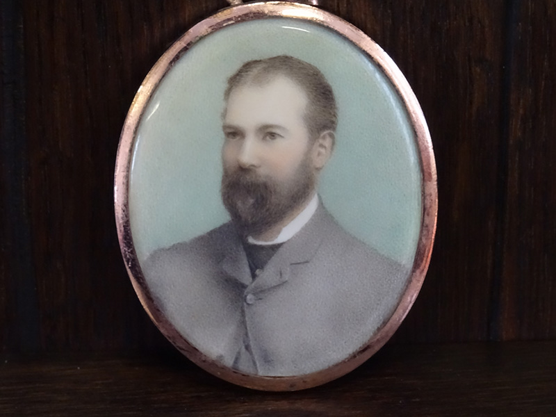Late Victorian miniature watercolour portrait of a gent