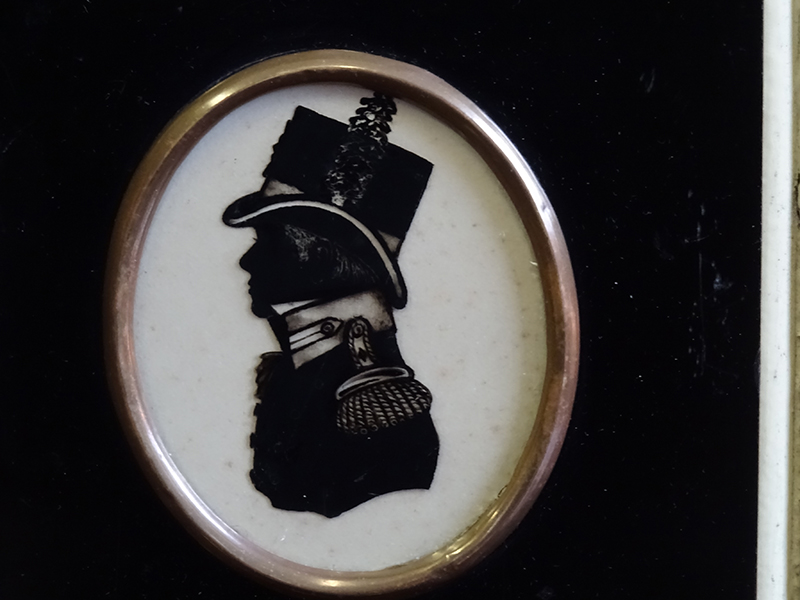 19th Century Reverse Glass Silhouette of an Admiral