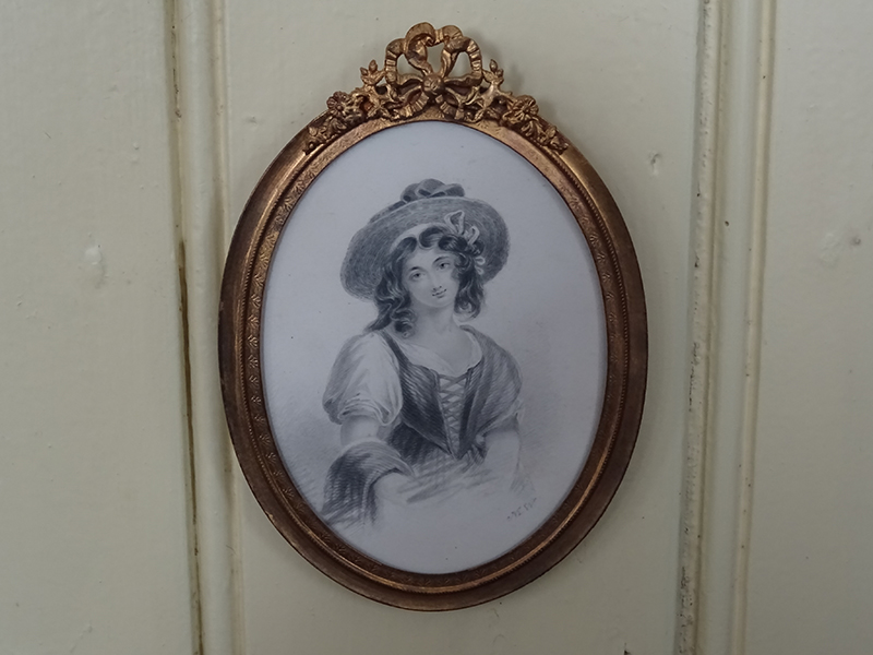 19th Century Pencil/Watercolour of a Young Lady