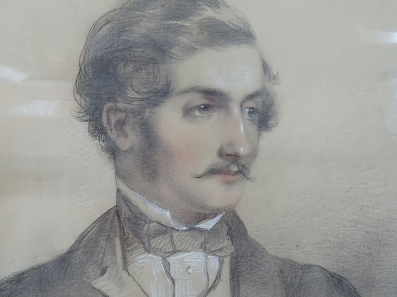 19th.century pastel/ charcoal portrait of a gentleman