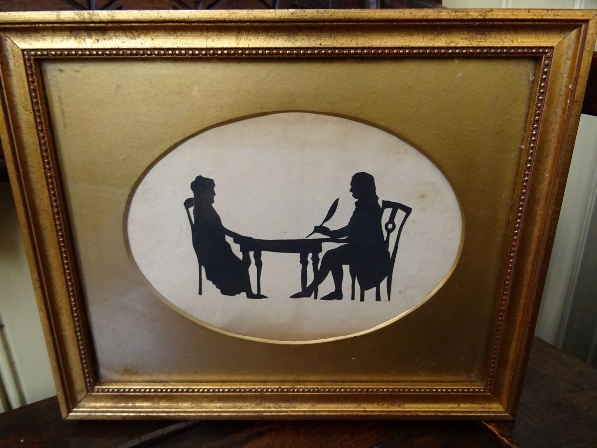 19th century hand painted silhouette