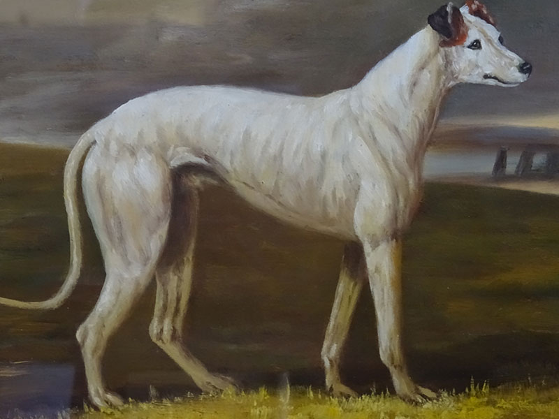 19th Century Oil Painting of a Greyhound