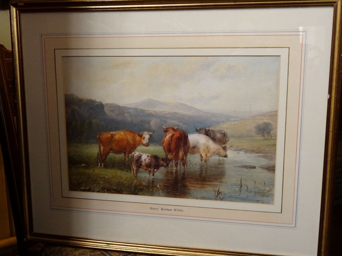 Henry Brittan Willis (1810-1884) watercolour, Landscape with cows.