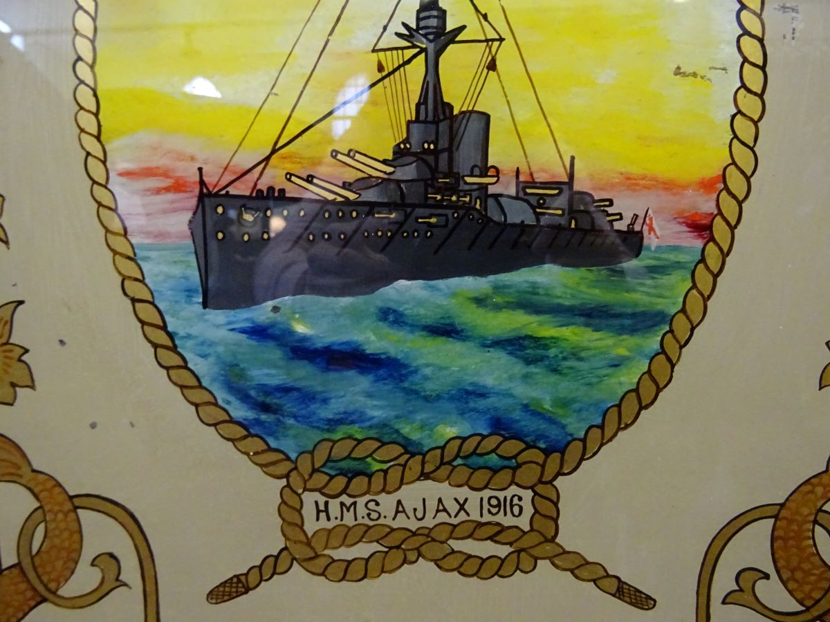Reverse painting of HMS Ajax '1916'