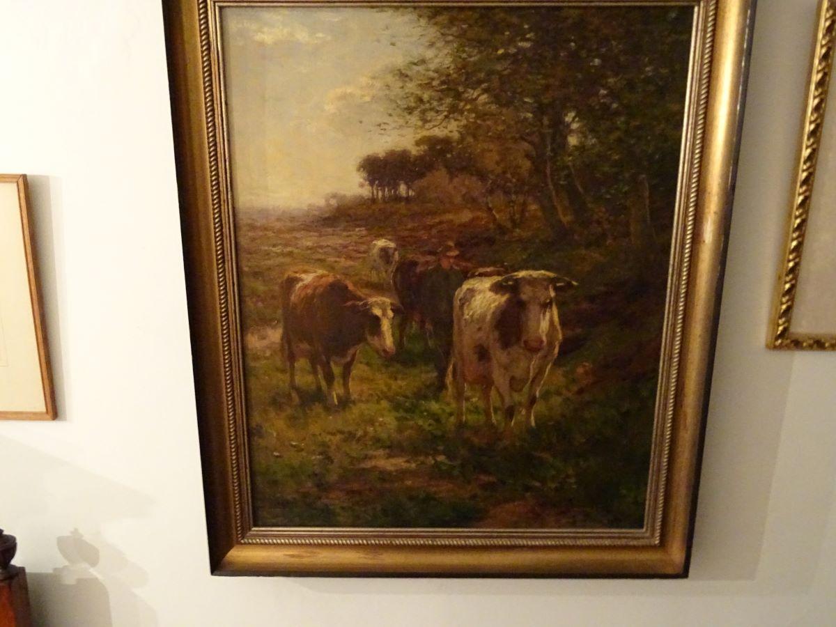 Farmer & cattle, oil on canvas. Johannus Karel Leurs