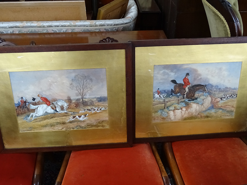Pair of 19th Century Water Colour Hunting Scenes