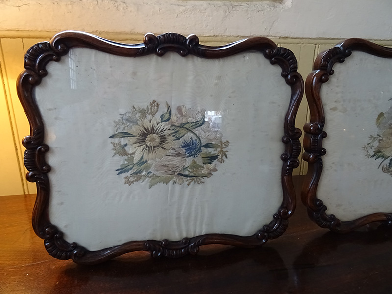 Pair antique rosewood framed silk panels