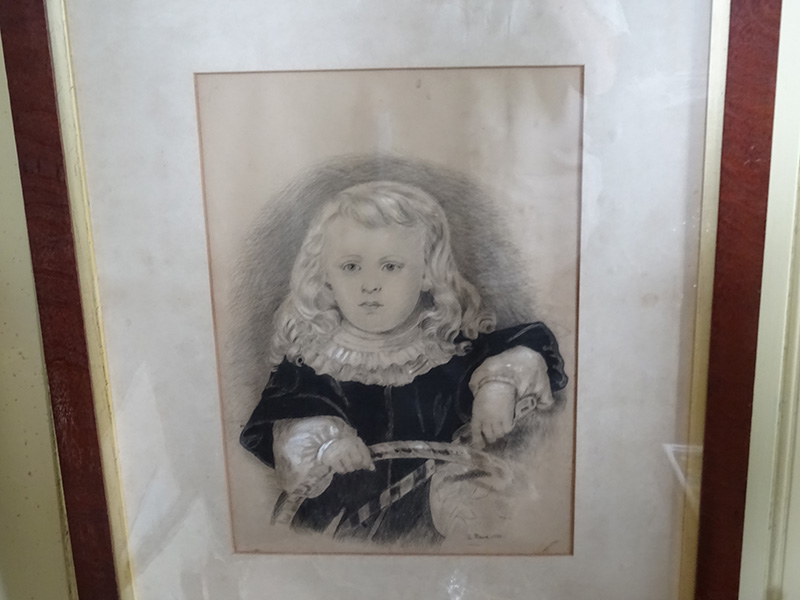 Charcoal and watercolour portrait of a child, A Rowe