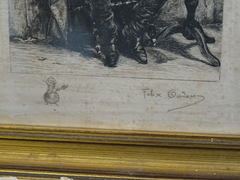 19th Century Engraving on Silk of a Soldier Smoking