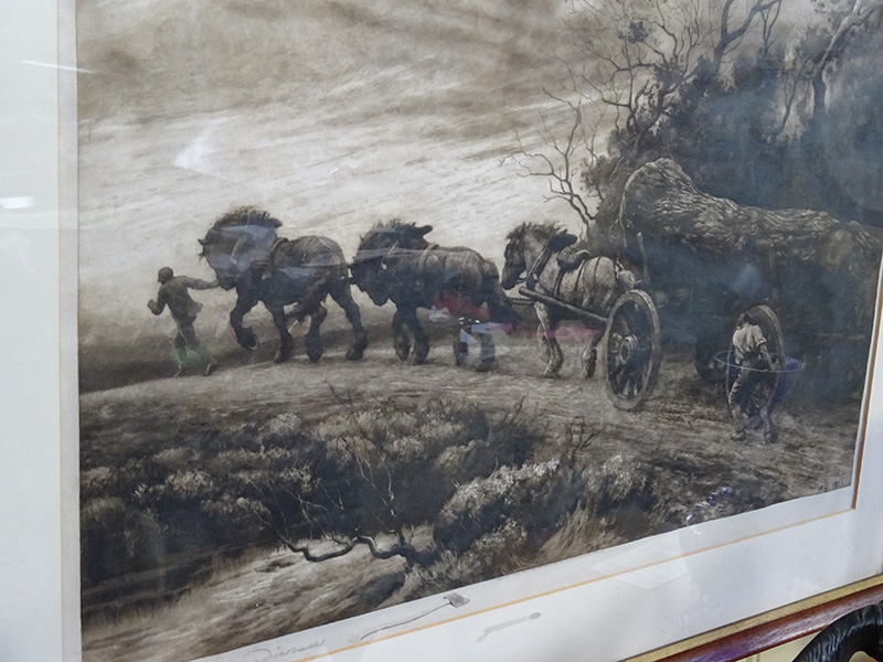 Herbert Dicksee, timber wagon pulled by horses, signed