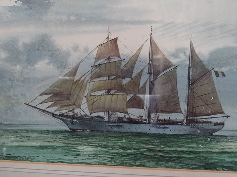 Full-Rigged Barquentine on a calm sea - watercolour Christopher Watkiss