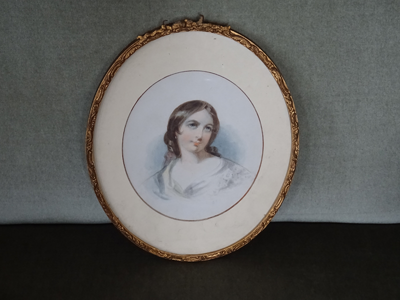 19th Century Watercolour of a Young Woman, signed G S
