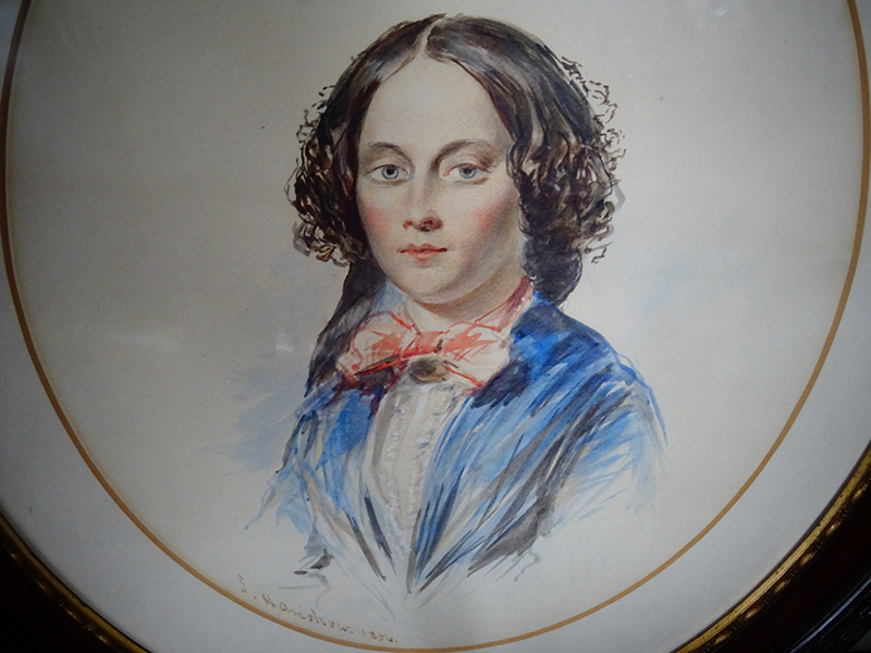 19th. century watercolour of a young woman