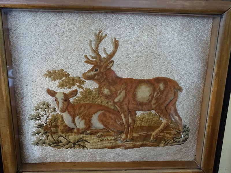 19th Century Woolwork and Tapestry Picture of Stag and Hind