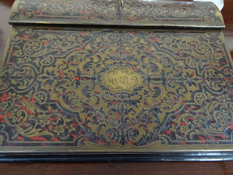 19th. century boulle work writing slope