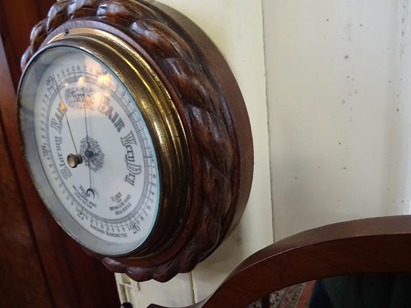 Edwardian oak round barometer