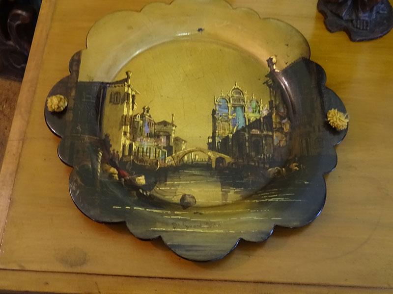 Victorian papier mache round tray-Jennens & Bettridge