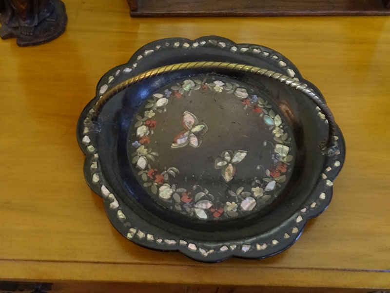 Victorian papier mache tray with detailed handle-Jennens & Bettridge