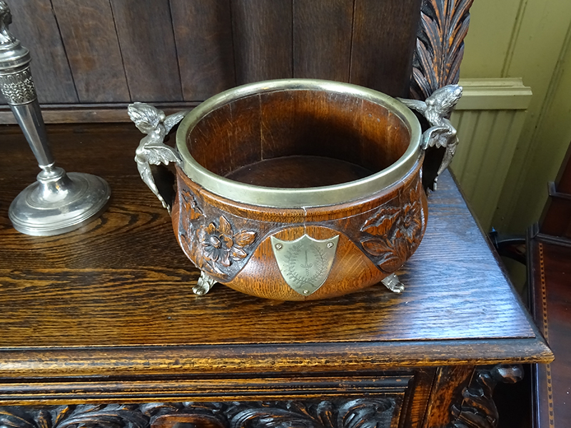 Late Victorian carved oak bowl
