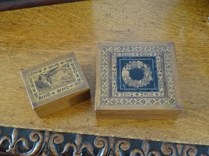 Pair small Tunbridge ware boxes