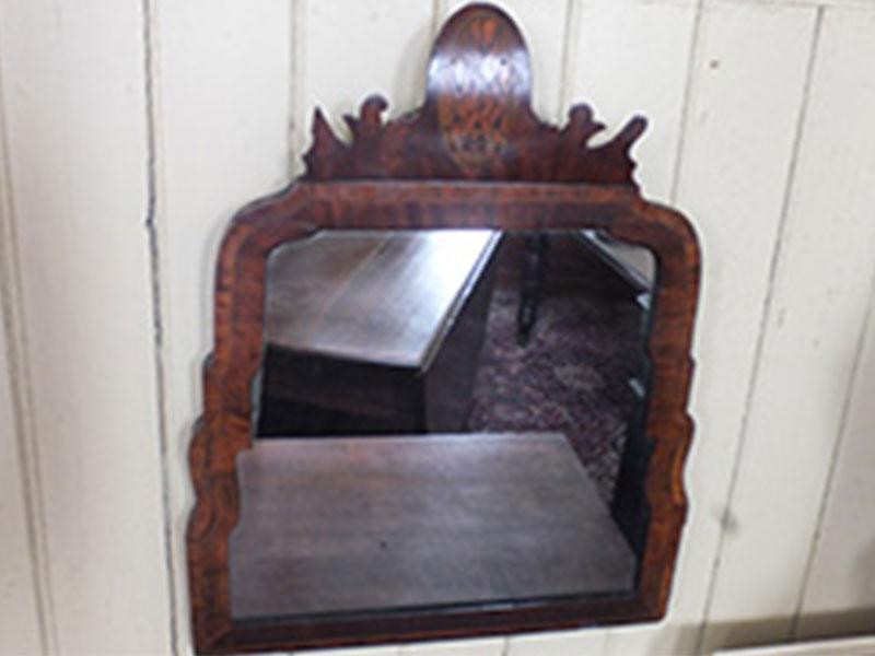 18th century crossbanded walnut framed mirror
