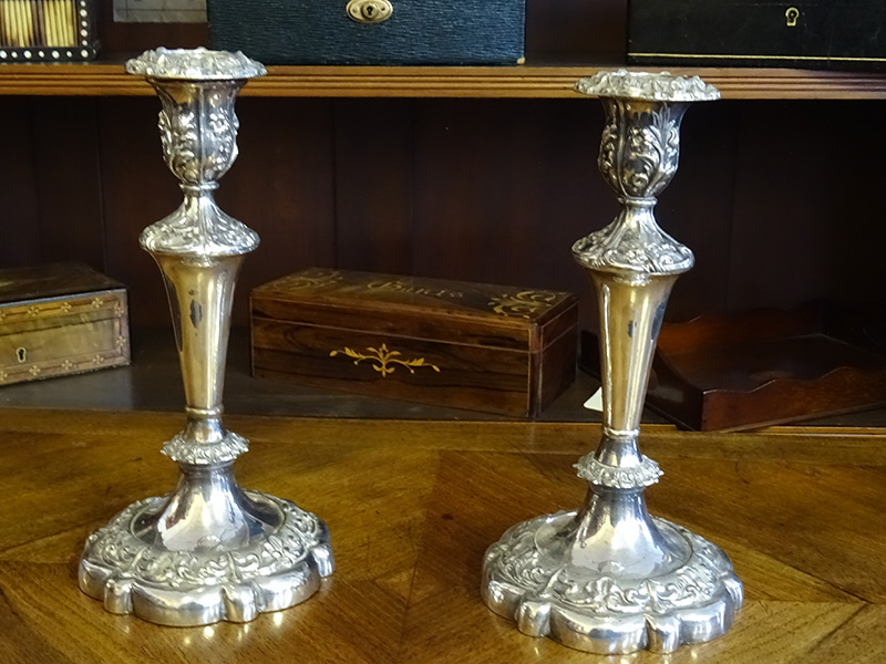 Pair 19th. century silver plate candlesticks