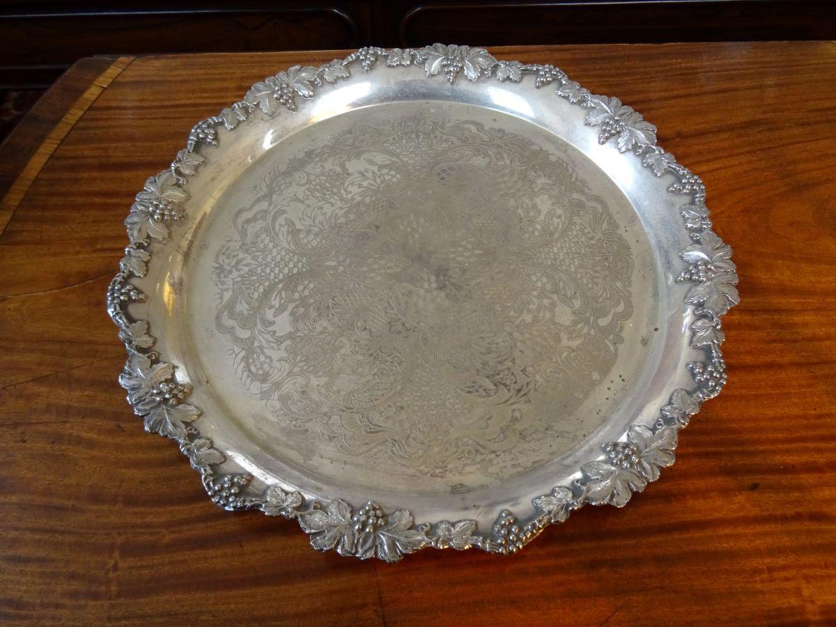 19th Century Silver Plate Round Salver