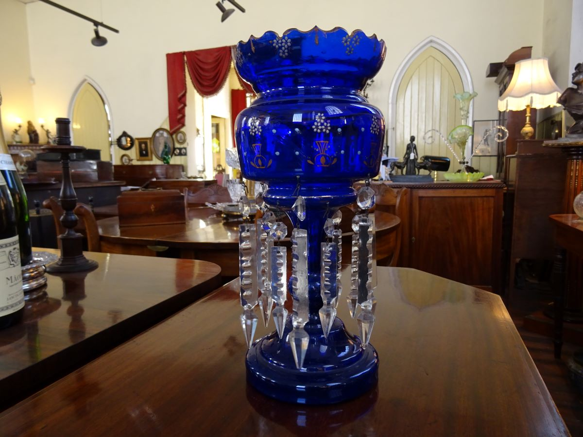 19th century Bristol Blue Glass Lustre