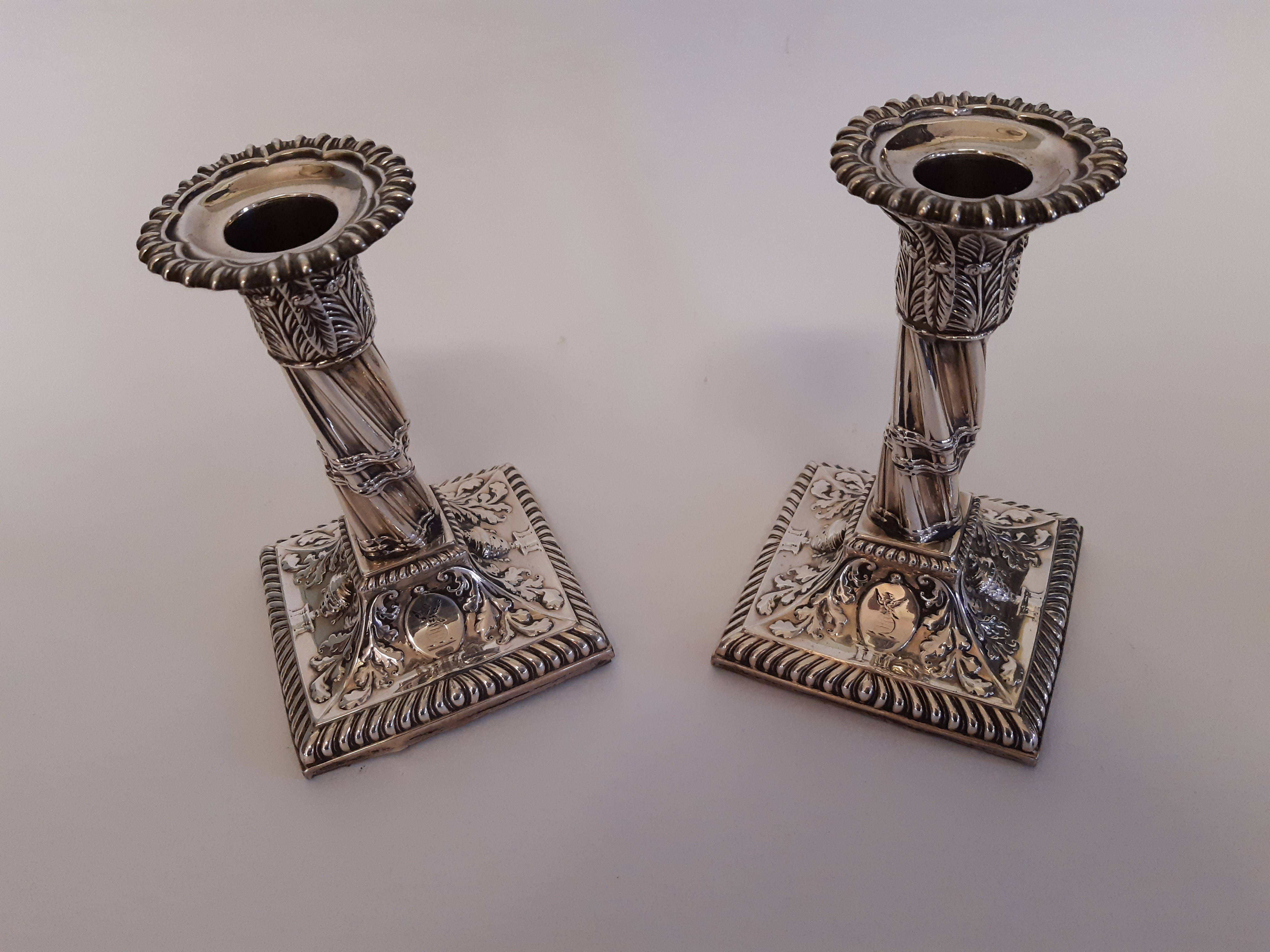 Pair of Victorian silver candlesticks with fluted twist column