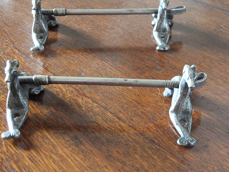 19th. century silver plated coursing knife rests