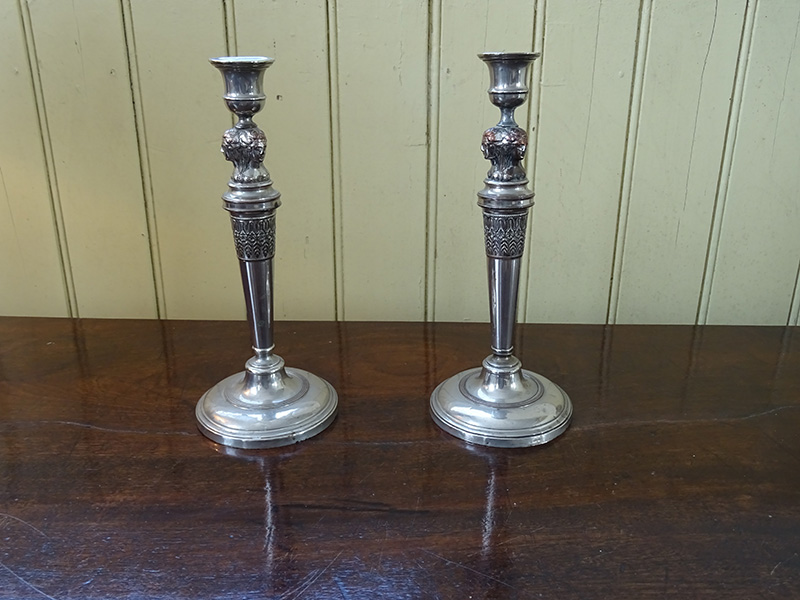 Pair 19th. century silver plate on copper candlesticks