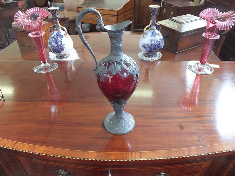 Victorian cranberry claret jug