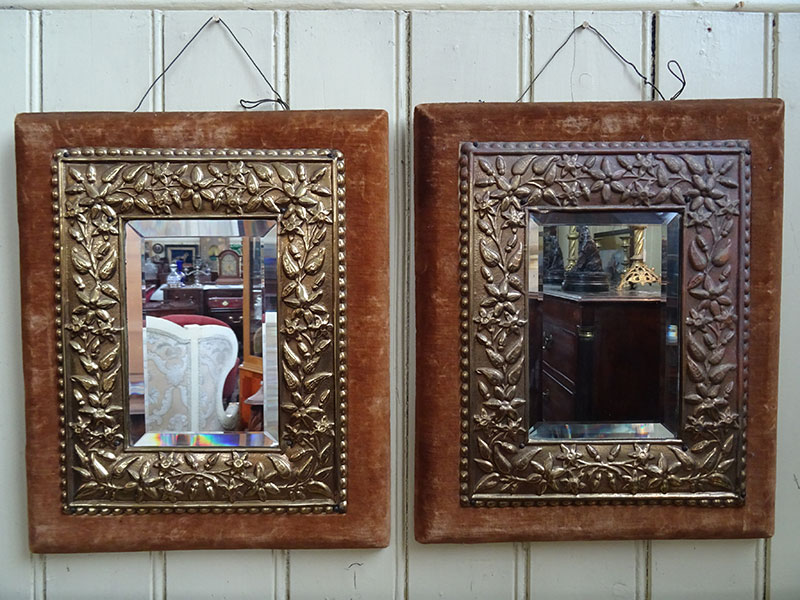 A Pair of Victorian Brass framed wall mirrors