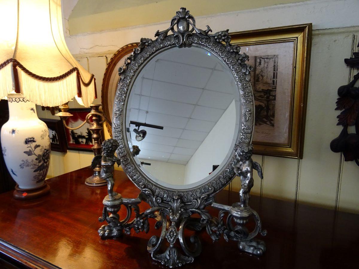 Edwardian ornate electroplate toilet mirror