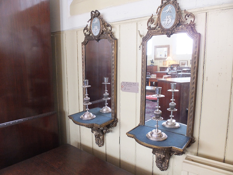Pair of 18th. century candle stand mirrors