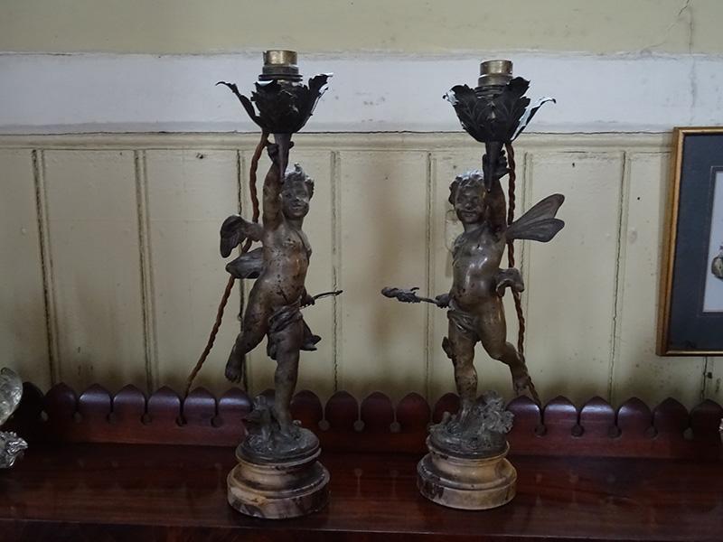 Pair 19th century Eutrope Bouret bronze cherub lamps