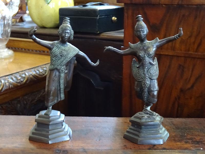 Pair of Early Bronze Tibetan Figures
