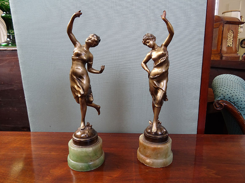 Pair of Bronze Patinated Spelter Young Ladies