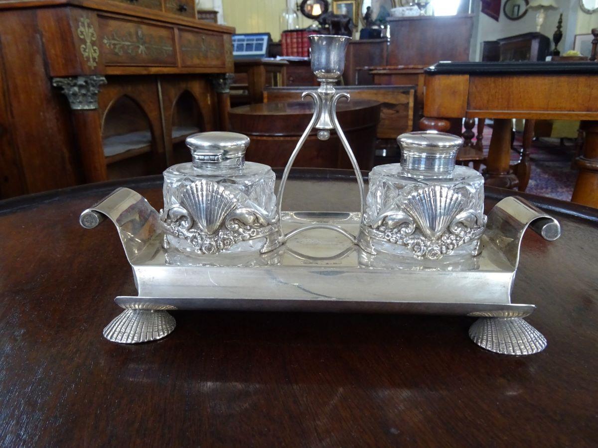 Victorian silver desk stand