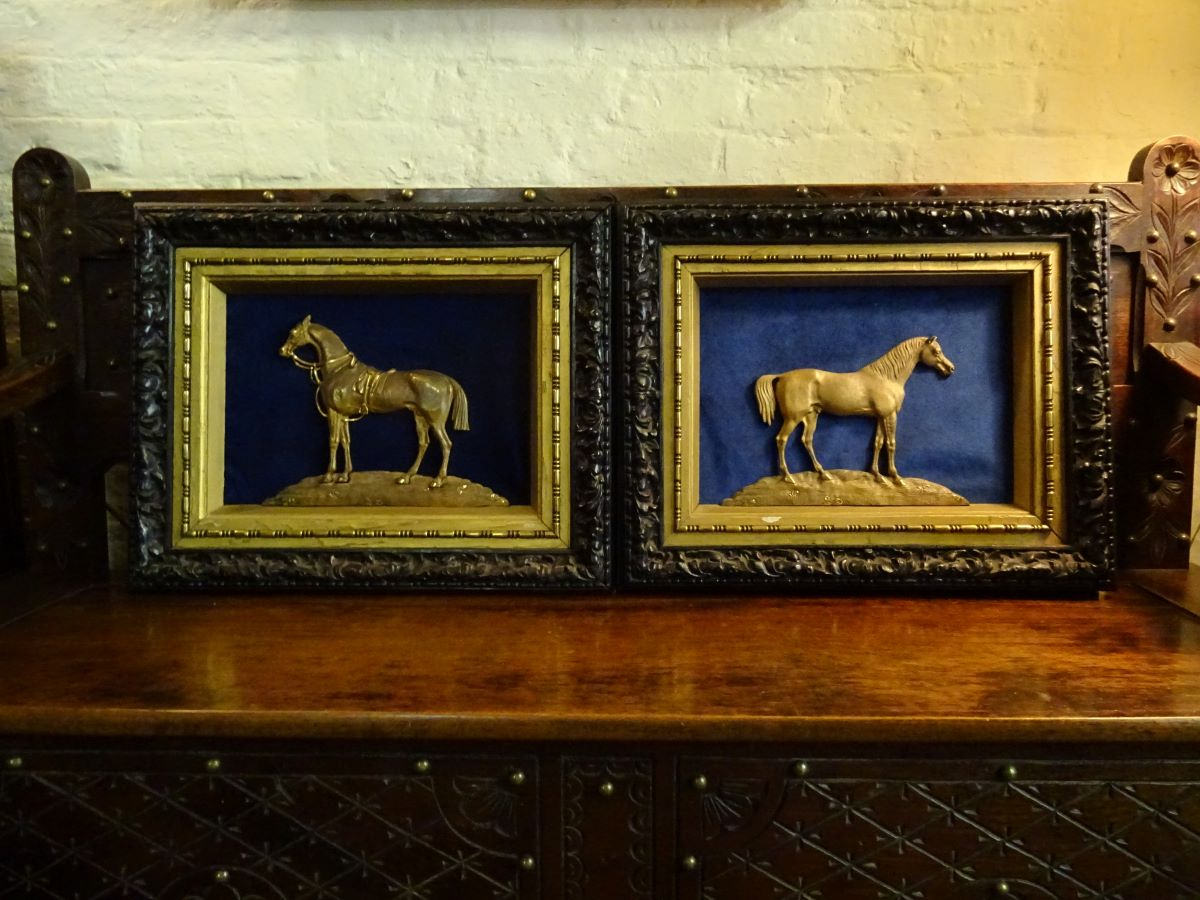 Pair of 19th century bronze sculptures of horses