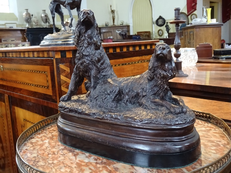 19th Century Bronze Figure Group of Two Gun Dogs