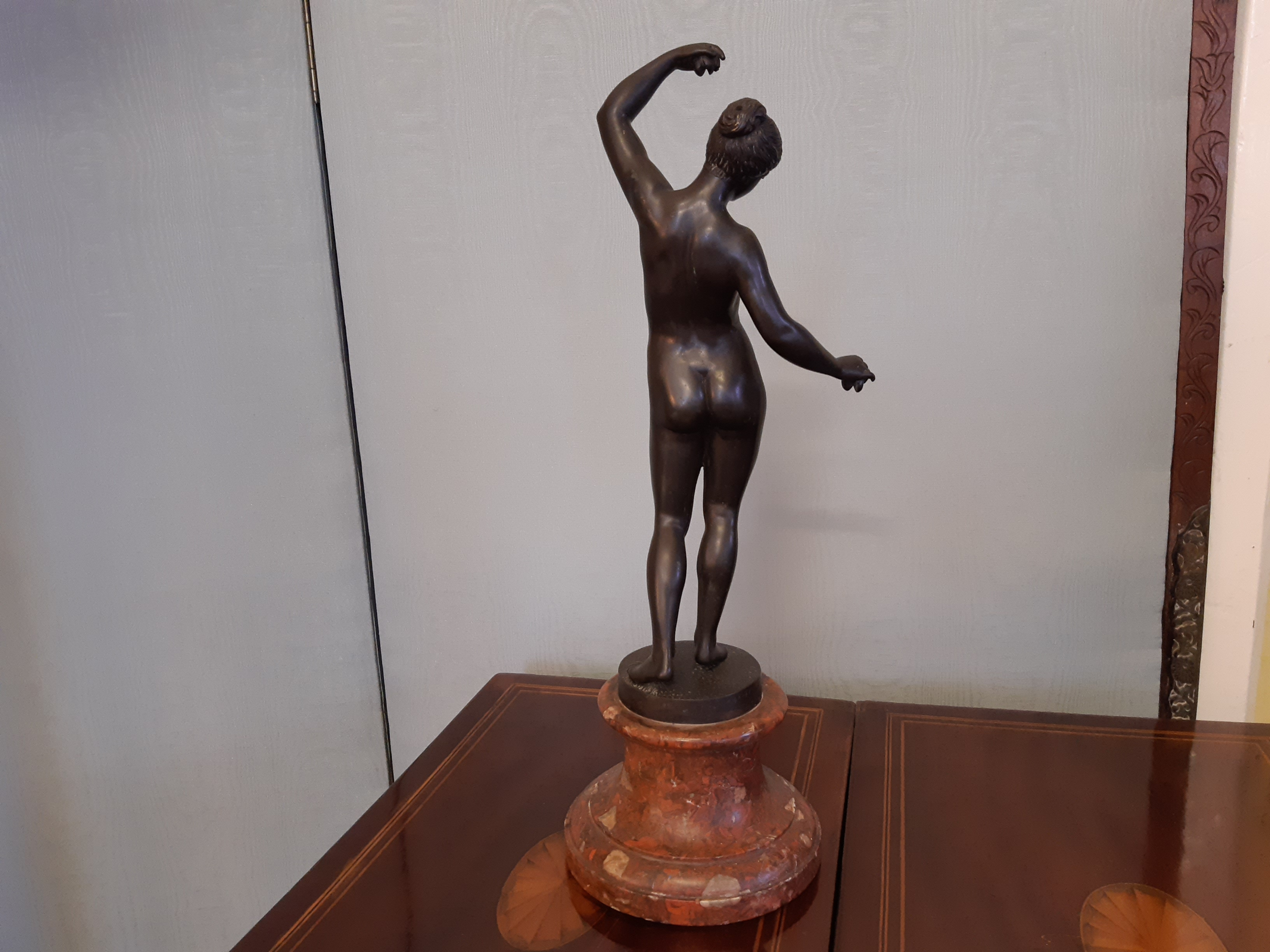 Silver patinated bronze female sculpture