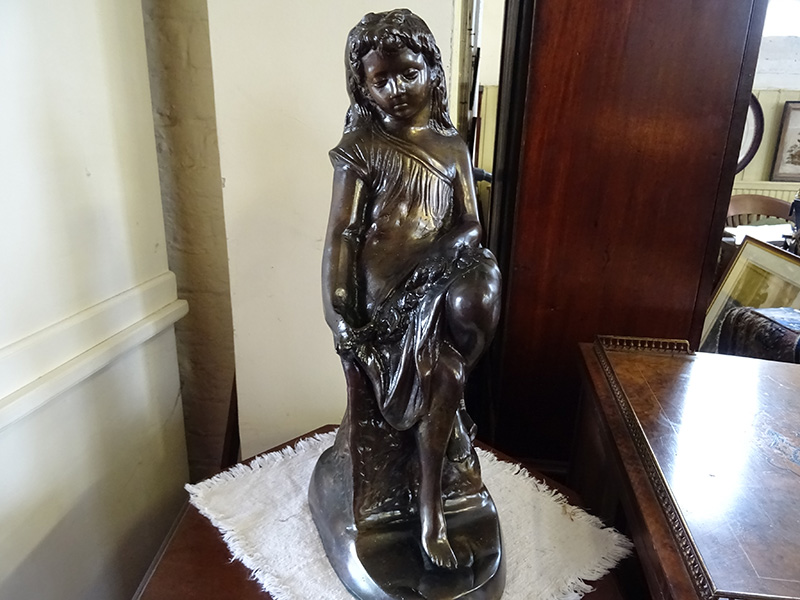 Brass Figure of a Seated Girl