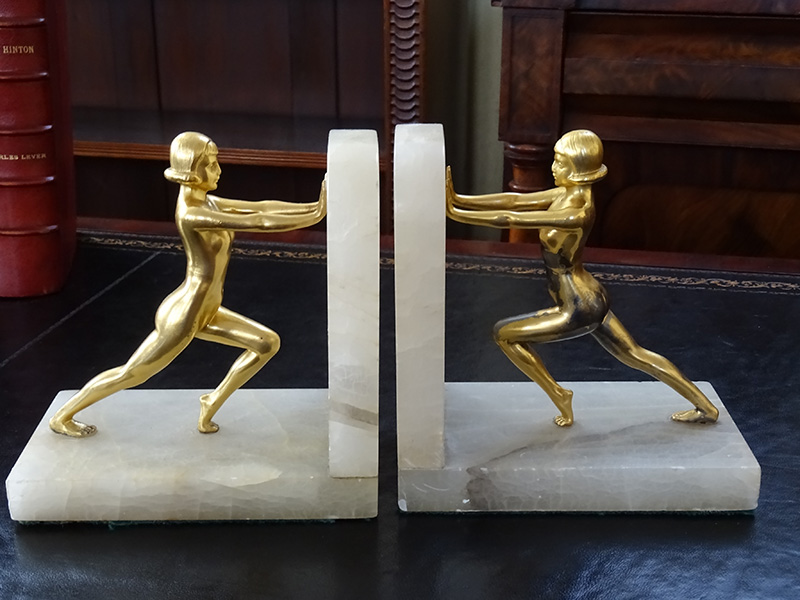 Pair of Gilded Naked Female Bookends