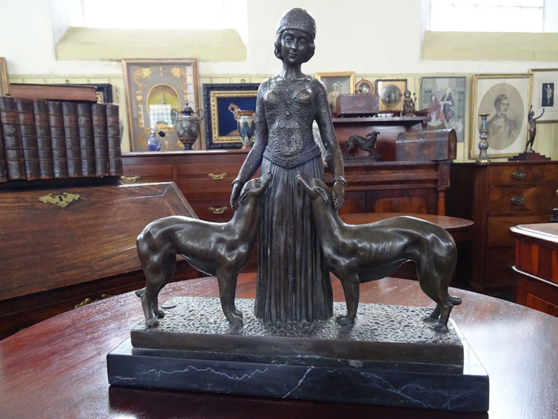 Art Deco Style Bronze Woman and 2 Dogs