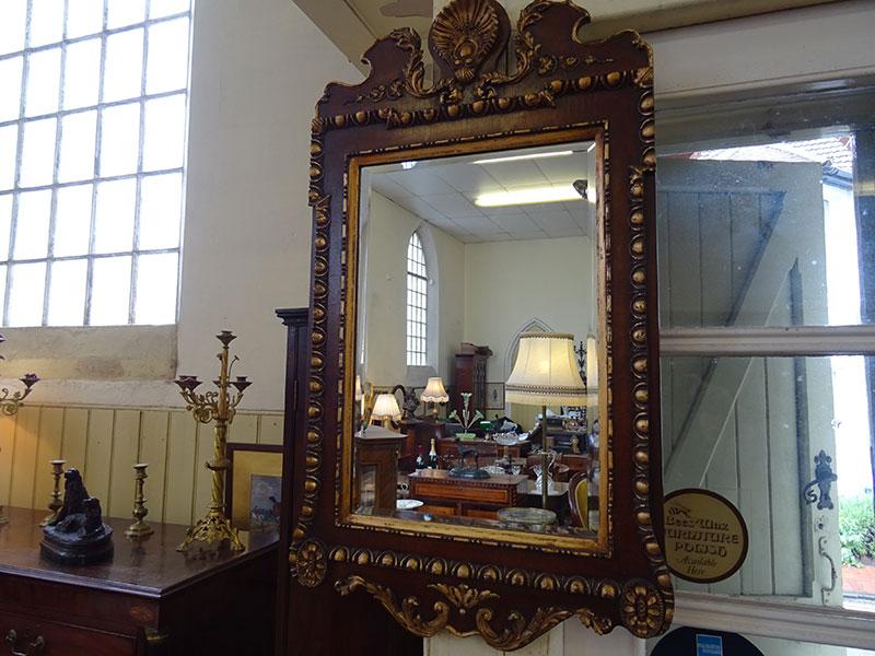 Walnut and Gilt Mirror