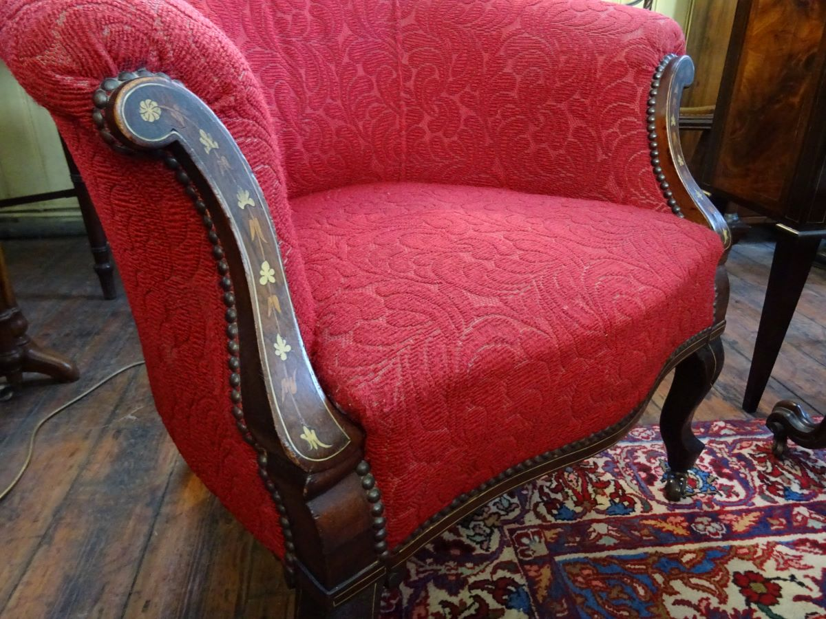 Late Victorian fireside tub chair